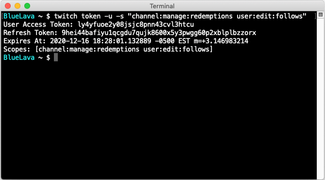 A Twitch CLI example demonstrating the creation of user access token with two scopes.